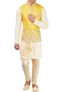 beige-kurta-set-with-embroidered-jacket