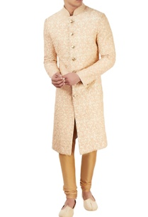 beige-sherwani-with-peach-threadwork