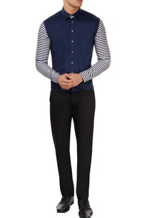blue-white-striped-sleeve-shirt