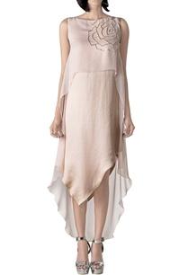 peach-asymmetric-dress