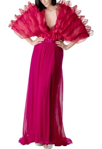 hot-pink-pleated-maxi-skirt