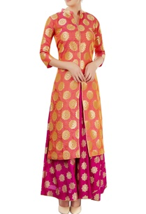 peach-magenta-skirt-set-with-floral-motif