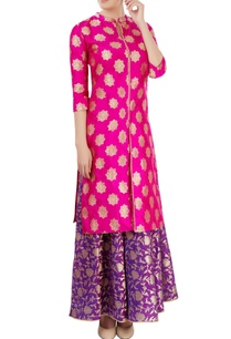 pink-purple-skirt-set-with-floral-motif