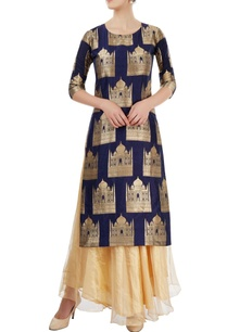 navy-blue-beige-skirt-set