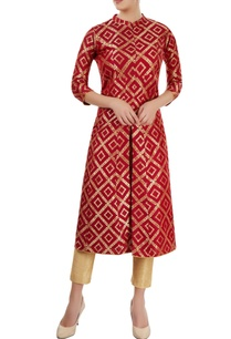 red-kurti-with-floral-pattern