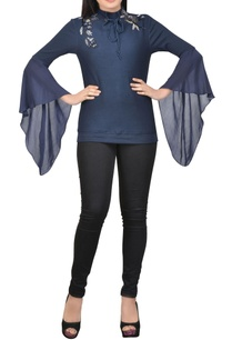 blue-embellished-top-with-draped-sleeves