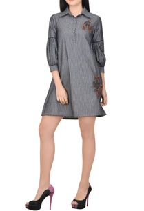 grey-striped-dress-wit-embroidered-motif