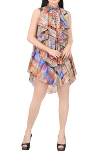 blue-orange-printed-dress-with-ruffles