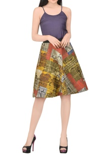 mustard-yellow-printed-skirt-with-quilted-effect