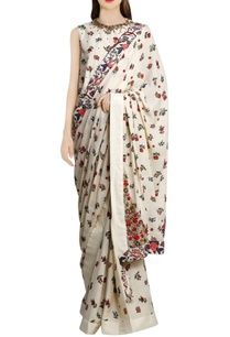 ivory-printed-sari-with-khadi-peplum-blouse