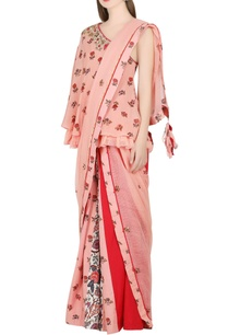 salmon-pink-one-shoulder-top-with-skirt-dupatta