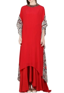coral-red-kaftan-dress-asymmetric-skirt