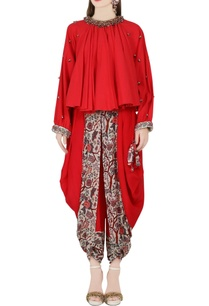 red-peasant-top-dhoti-pants