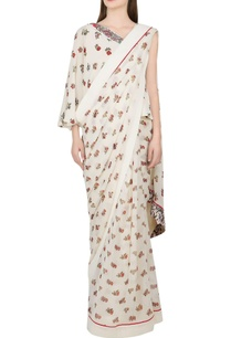 ivory-printed-sari-one-shoulder-blouse
