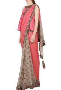salmon-pink-beige-sari-with-blouse