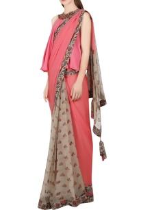 salmon-pink-beige-sari-with-blouse