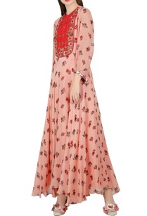 salmon-pink-printed-embellished-dress