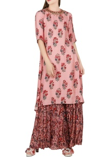 salmon-pink-asymmetric-kurta-with-sharara