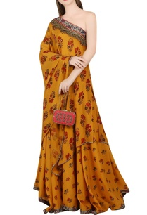 ochre-yellow-one-shoulder-tunic-lehenga