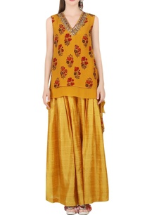 ochre-printed-tunic-mustard-silk-skirt