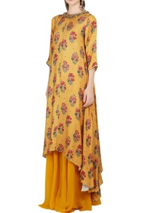 mustard-yellow-printed-kurta-sharara