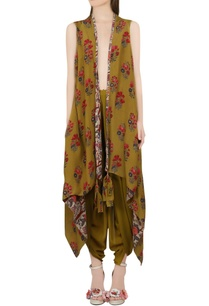 olive-green-reversible-cape-dhoti-pants
