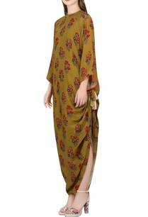 olive-green-printed-rouched-maxi-dress