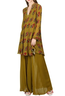 olive-green-printed-tunic-sharara-pants