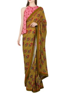 olive-green-sari-with-salmon-pink-blouse