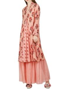 salmon-pink-pleated-kurta-sharara-pants