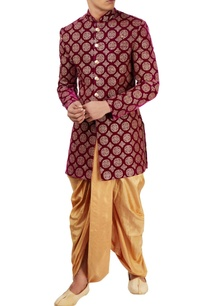 wine-sequined-sherwani-with-gold-dhoti
