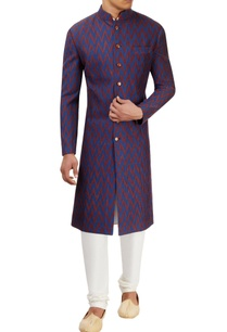 blue-rust-chevron-textured-sherwani-set