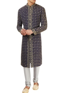 navy-blue-lucknowi-embroidered-sherwani-set