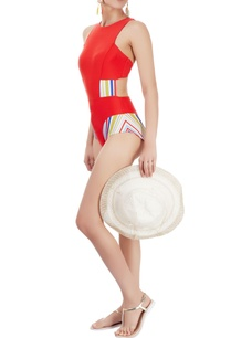 red-one-piece-with-striped-panels