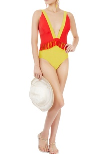 red-yellow-one-piece-with-fringes