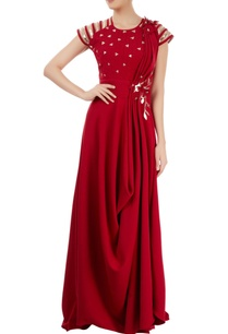 marsala-draped-gown