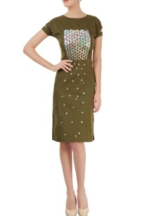 military-green-applique-dress