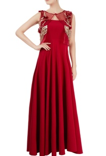 marsala-gown-with-cape