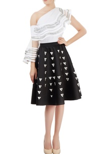 black-applique-skater-skirt