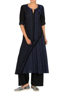 black-navy-blue-block-printed-tunic