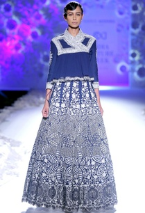 indigo-embroidered-kedia-top-lehenga-skirt