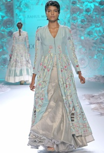 pastel-blue-long-kurta-with-ivory-gold-lehenga