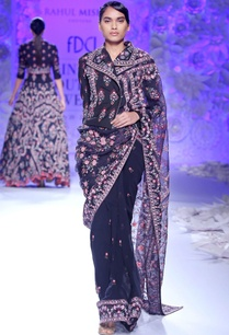 navy-blue-embroidered-sari-with-jacket