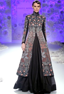 black-hand-embroidered-kurta-lehenga