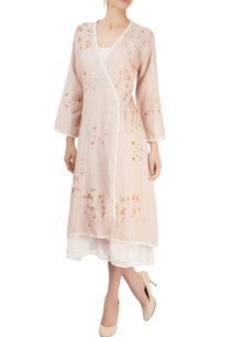 dusky-pink-wrap-dress-with-block-prints
