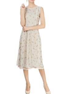 grey-floral-printed-dress