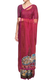 pink-dark-brown-sari-with-madhubani-painting
