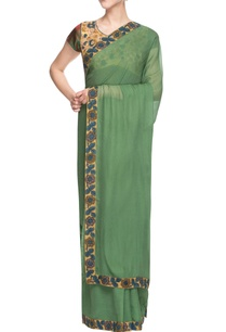 beige-green-sari-with-madhubani-painting