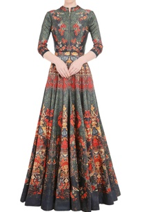 seaweed-green-anarkali-gown-with-floral-print