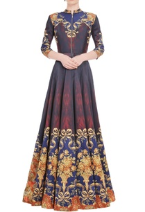 maroon-mustard-yellow-printed-anarkali-gown